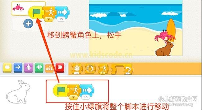 ScratchJR少儿编程启蒙教程:第三章:蟹兔赛跑故事-少儿编程教育网